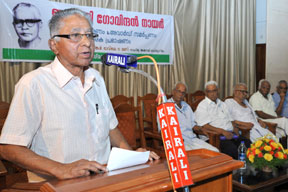 T.K.Muhammed, treasurer of Edasseri Smaraka Samithi delivering thanksgiving speech