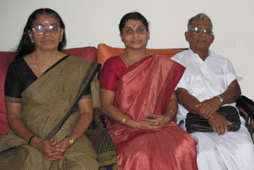 Ms. Santhakumari, Sushama (daughter) and E. Raman Master.