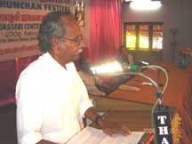 Dr. S.K. Vasanthan delivering the chairman's speech on Session on Edasseri's Poetry.